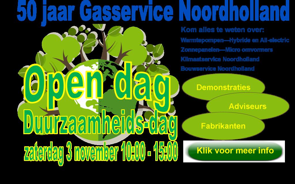 Banner open dag op 3 november 2018 ter ere van 50 jaar Gasservice Noordholland